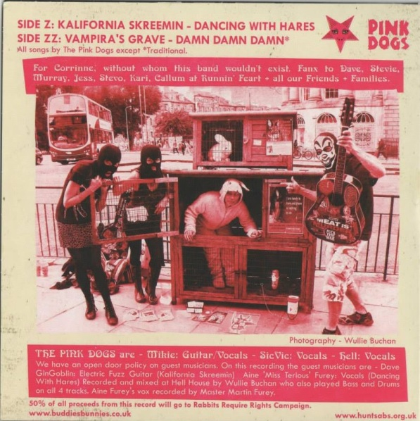 The Pink Dogs Rabbits Require Rights Vinyl E.P. - rear cover